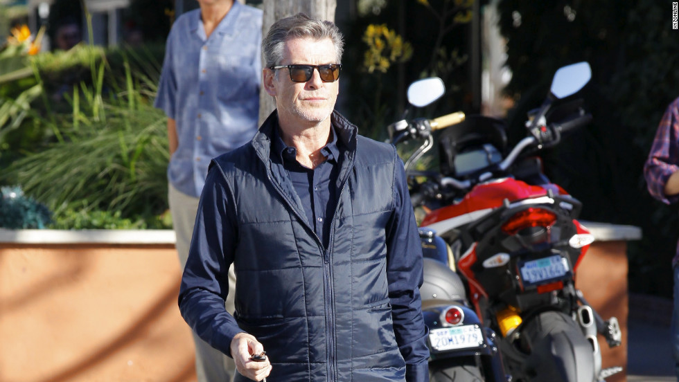 Pierce Brosnan goes to work in Malibu.