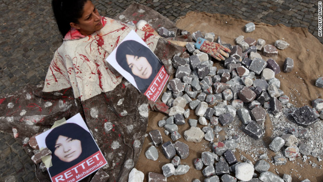 A demonstrator protests against the stoning of Sakineh Mohammadi Ashtiani on August 5, 2010 in Berlin, Germany.