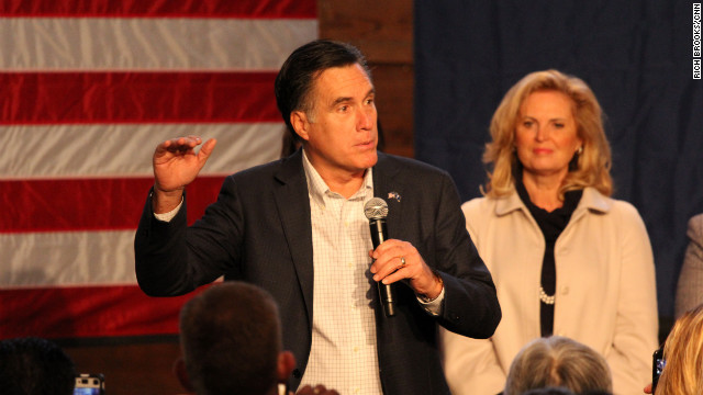Mitt Romney with his wife Ann are on stage at a rally in Conway, South Carolina on Friday, January 6, 2012.