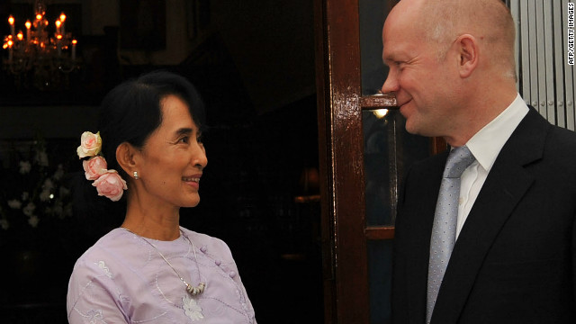 "British Foreign Secretary William Hague said it was an ""exciting time"" for opposition leader Aung San Suu Kyi and her party."