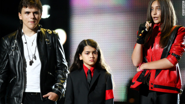 Michael Jackson's children (from left) Prince, Blanket and Paris Jackson appear at a concert last October in Cardiff, Wales.