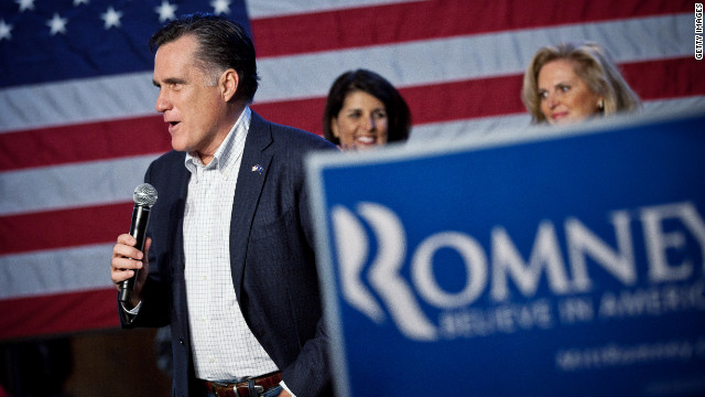 GOP White House hopeful Mitt Romney campaigns in Conway, South Carolina, on Friday.