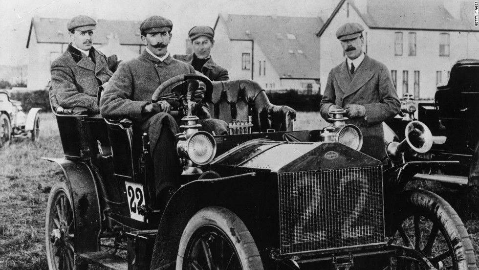 Charles Stewart Rolls, who co-founded the company with Henry Royce in 1904, sits in the back seat of a 20-horsepower Rolls Royce, during the 1905 TT (Tourist Trophy) race.