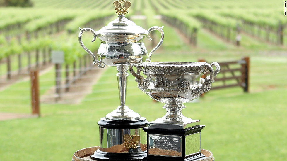 Although the singles winners' trophies are instantly recognizable, their titles are not as widely known. The men battle it out for the the Norman Brookes Challenge Cup, while the top woman will collect the Daphne Akhurst Memorial Trophy -- both famous names from the tournament's illustrious history.