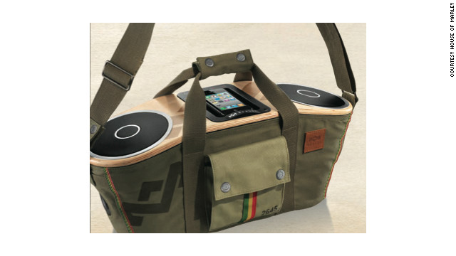 The Bag of Rhythm is a portable stereo with high-end components nestled inside a canvas shoulder bag.