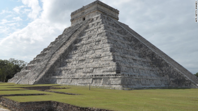 Picture of the Kukulcan temple, also known as El Castillo (The Castle), a step pyramid dominating Chichen Itza archaeological site