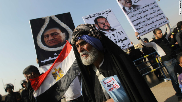An Egyptian man protesting against former president Hosni Mubarak in January. Mubarak's three decade rule ended in 2011.