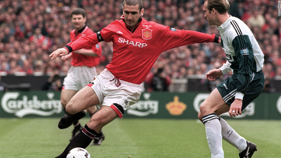 Manchester United's Eric Cantona controls the ball during the FA Cup final against Liverpool at Wembley in May 1996. Now he is entering the political arena to highlight the issue of bad housing.