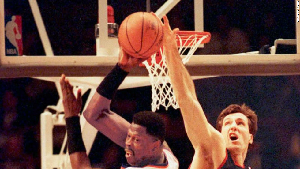 Portland Trail Blazers' Chris Dudley, right, blocks New York Knicks' Patrick Ewing at Madison Square Garden in 1995.  In 2010, Dudley was defeated as Republican candidate to be governor of Oregon.