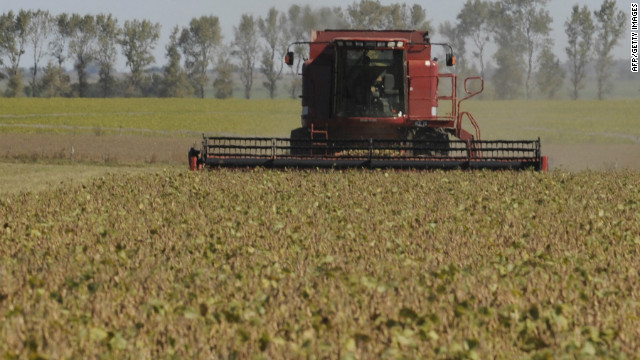 A combine harvests soybeans in a field in the locality of Perez Millan, Argentina. Crops could be damaged by ongoing drought.