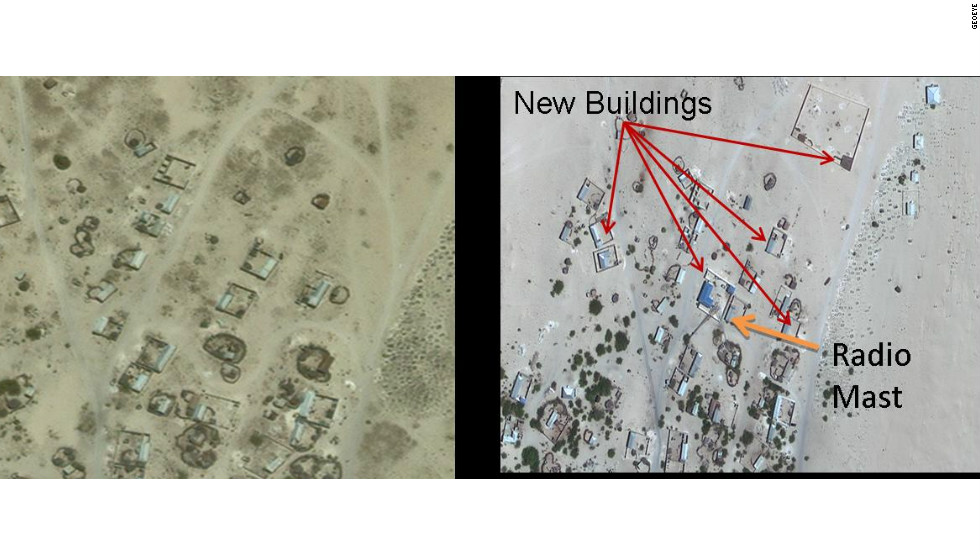 A satellite picture of Hobyo Radio station. The image on the left was taken in July 2006 and the picture on the right was taken in June 2010.