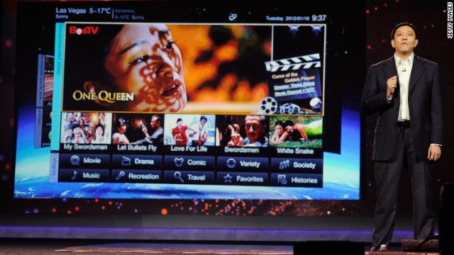 Lenovo executive Liu Jun unveils the company's new Android-based television, set for release in China.