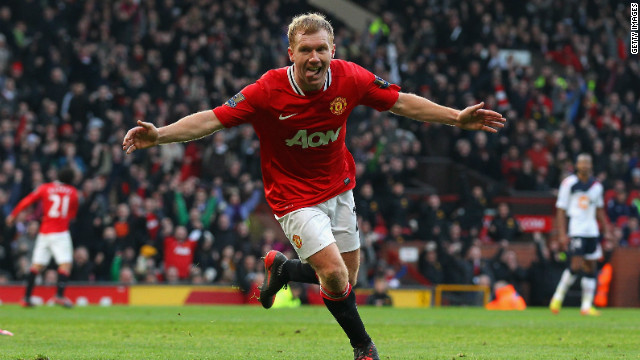 Paul Scholes celebrates his return to the English Premier League with a goal against Bolton Wanderers