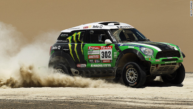 France's Stephane Peterhansel drives his Mini during stage 13 of the 2012 Dakar Rally from Nasca to Pisco in Peru