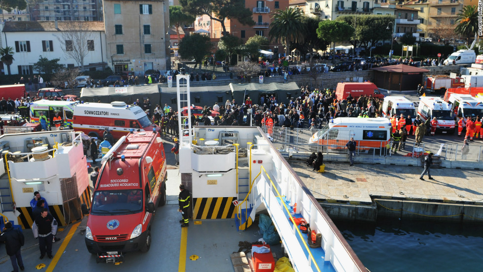 Emergency services work from the island of Giglio, near where the cruise ship Costa Concordia ran aground.