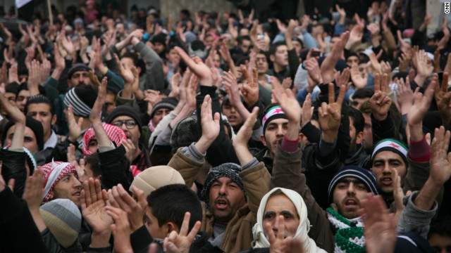 Opposition supporters turn out in force in Zabadani, Syria.