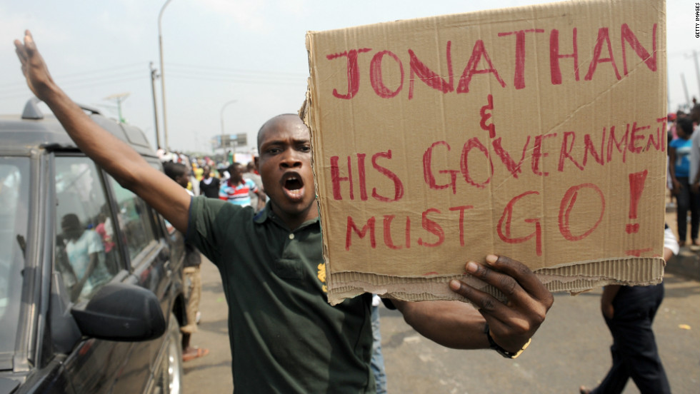 A man protesting against President Jonathan's government for scrapping gas subsidy.