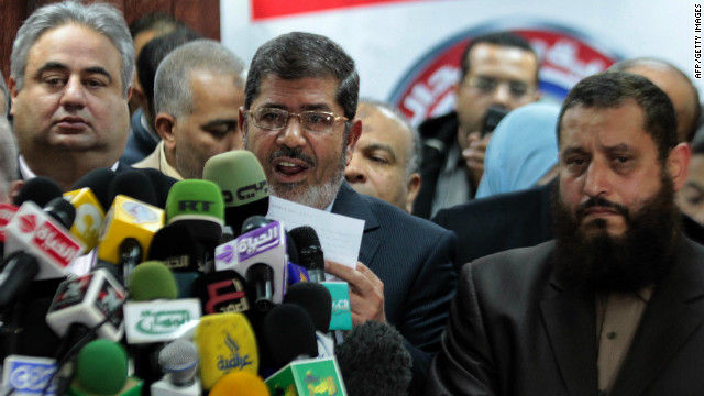 Chairman of the Freedom and Justice Party, Mohamed Morsi, talks during a press conference on January 16, 2012.
