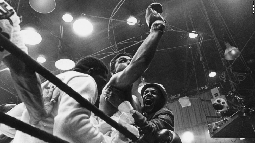 "Ali first became a world champion in 1964, when he was still known as Cassius Clay. He upset the odds to defeat reigning champion Sonny Liston, a result which prompted him to yell ""I'm the greatest"" at gathered reporters."