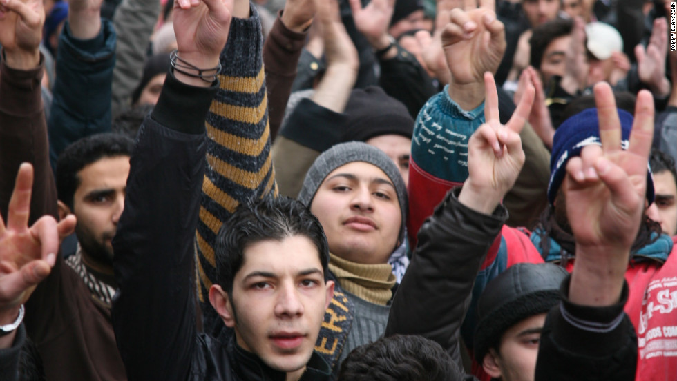 An anti-government protest takes place in the heart of the Syrian town of Zabadani, which has been under government siege for three days.
