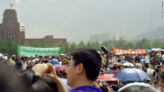 Thousands of people staged a protest outside the Fujia chemical plant in Dalian in August last year.