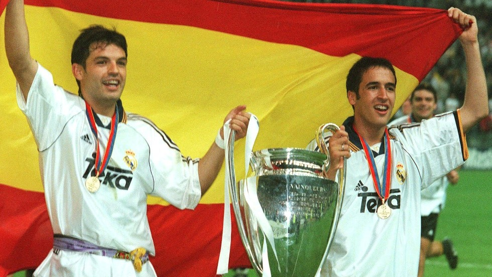 Fernando Morientes (left) is a legendary Spanish striker who spent a large part of his career at Real Madrid, winning three European Champions League titles and two La Liga crowns. He also played for Liverpool in England and Marseille in France. Morientes scored 27 times for Spain.