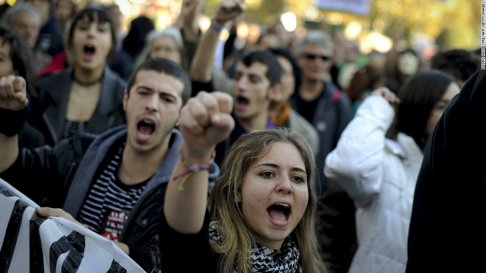 Spain's 'indignant' protesters march through Madrid in November to protest high unemployment and spending cuts.