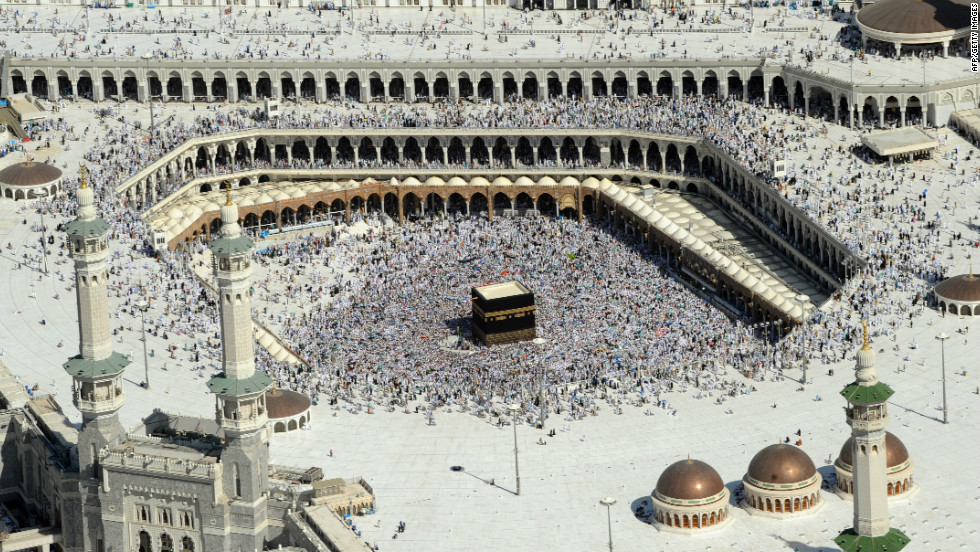 An aerial view shows Muslim pilgrims walking around the Ka'ba in the Grand Mosque of the holy city of Mecca during the annual Hajj pilgrimage rituals on November 7, 2011.