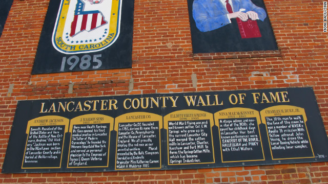 The wall of fame in downtown Lancaster shows off its most notable citizens, among them Andrew Jackson.