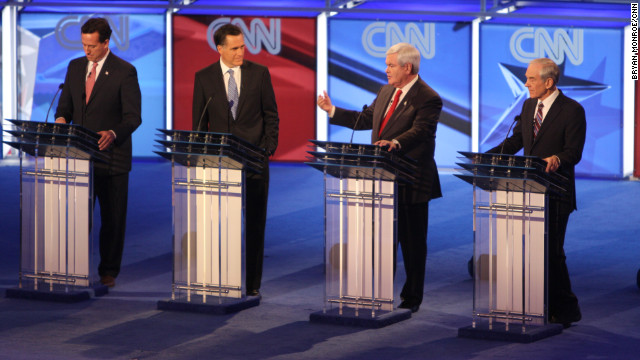 GOP presidential candidates Rick Santorum, Mitt Romney, Newt Gingrich and Ron Paul face off during a CNN debate in South Carolina.