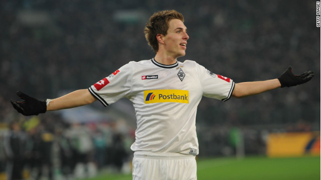 Patrick Herrmann celebrates his first goal in Borussia Moenchengladbach's 3-1 win over Bayern Munich.