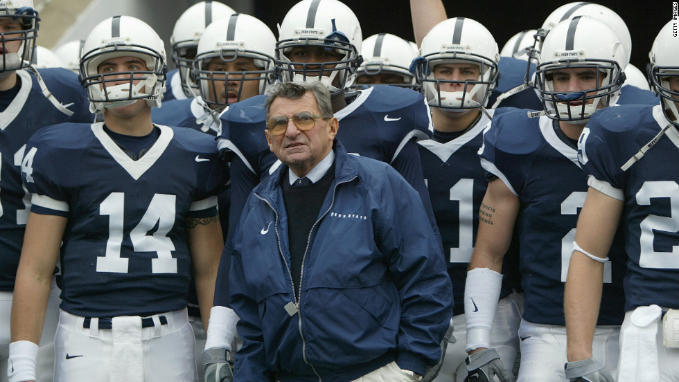 Paterno and his Nittany Lions look on before facing Iowa at Beaver Stadium in State College, Pennsylvania, in October 2004.