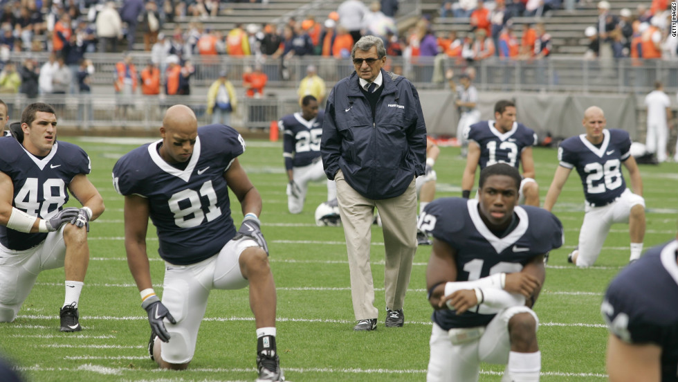Paterno walks the field as his players warm up before their game against the Syracuse Orangemen at Beaver Stadium in September 2009 in Pennsylvania. The coach was fired in November amid the outcry over the handling of accusations against former defensive coordinator Jerry Sandusky.