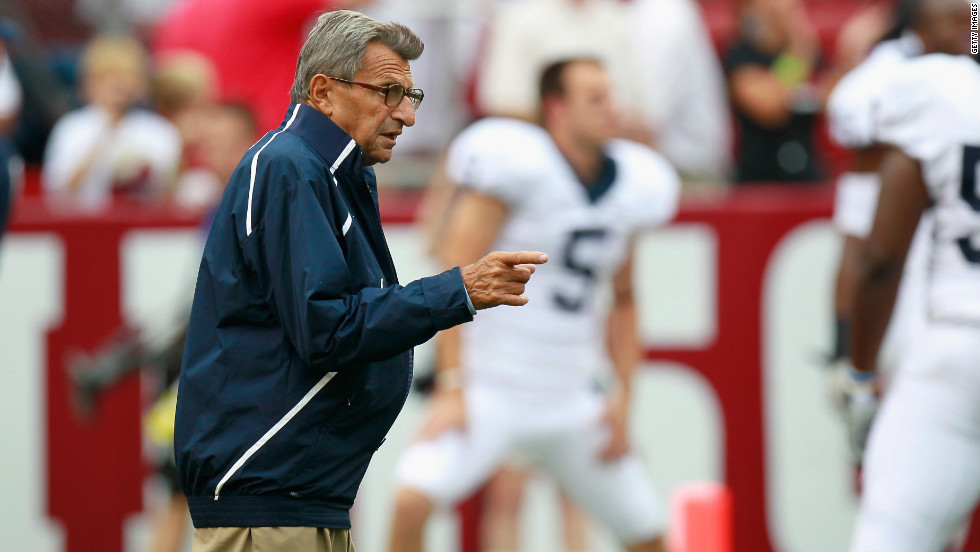 Paterno gives direction to his players before playing the Crimson Tide in Alabama in 2010.