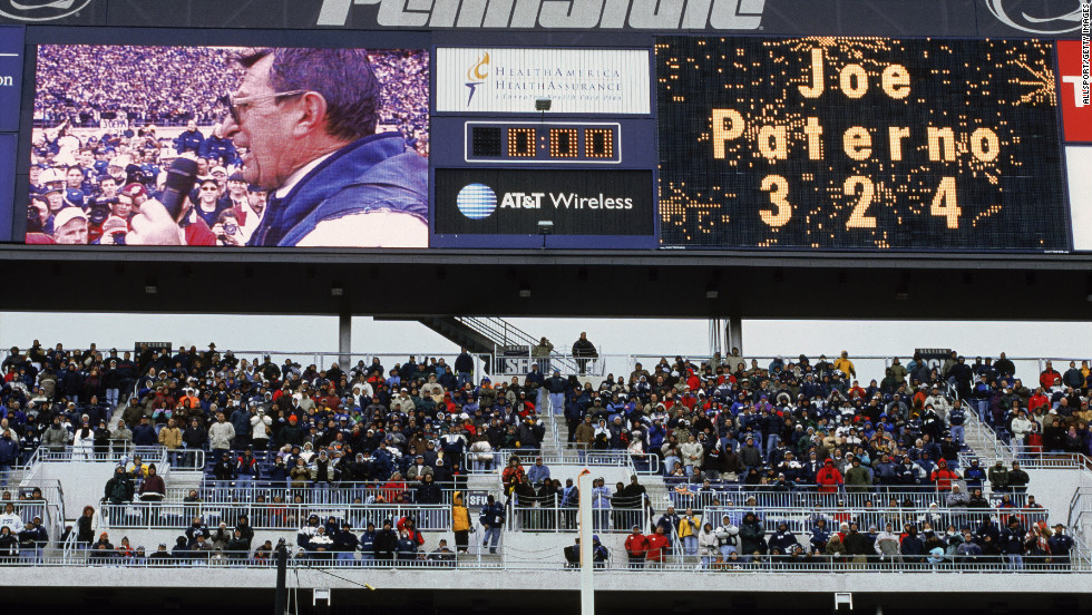 In October 2001, Paterno is honored before a game for having won the most games in Division 1-A. He continued to vie with Florida State's Bobby Bowden for the most all-time major college wins until Bowden retired in 2009.