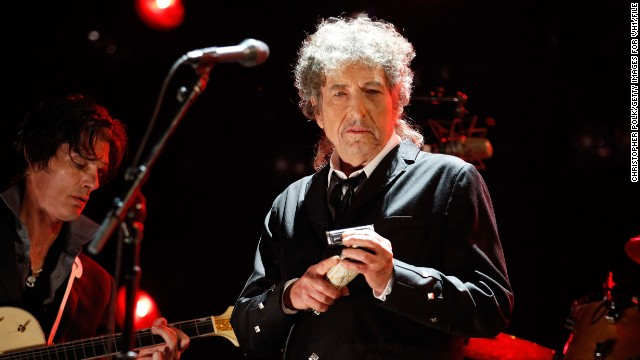 Bob Dylan, here performing at the Critics' Choice Movie Awards in January, denies the guitar is the one he played at the festival.