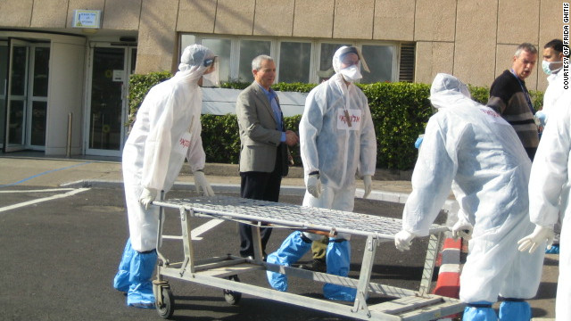 "Emergency workers simulate a ""dirty bomb"" attack scenario at Carmel Medical Center in Haifa, Israel, on January 18."