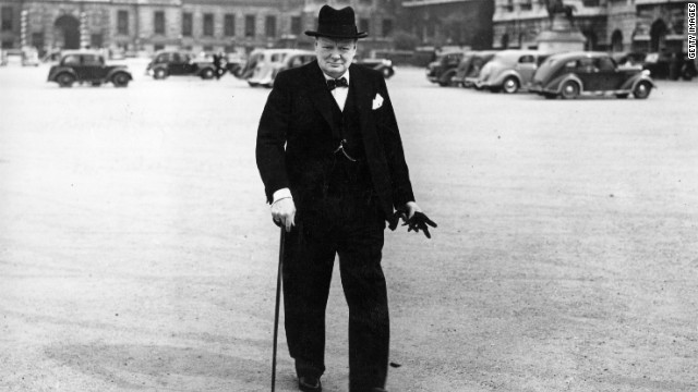 Sir Winston Churchill (1874 - 1965) arriving at number 10 Downing Street London for a cabinet meeting.