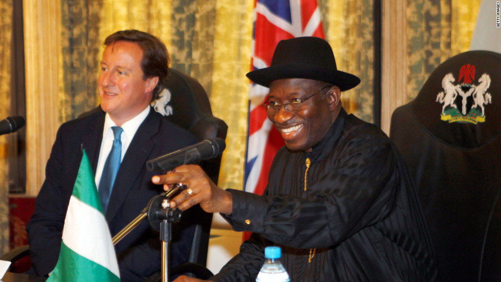 British Prime Minister David Cameron and President Jonathan talk during a meeting at the State House, on July 19, 2011 in Lagos, Nigeria. Britain and Nigeria have strong business and trading links.