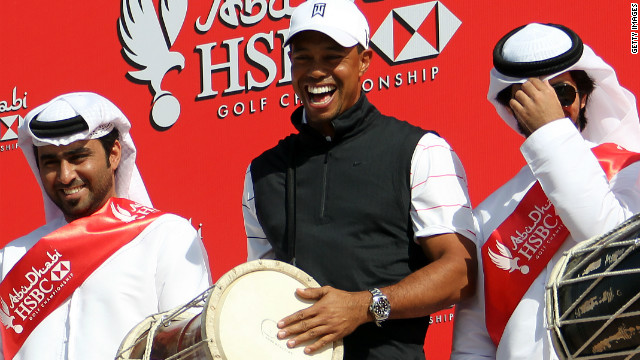 Tiger Woods was in jovial mood ahead of the Abu Dhabi Golf Championship which starts Thursday.