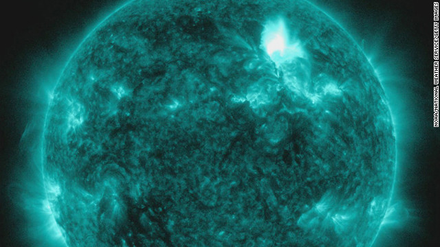 This handout from the NOAA/National Weather Service's Space Weather Prediction Center, shows the M3.2 solar flare on January 23, 2012. The flare is reportedly the largest since 2005 and is expected to affect GPS systems and other communications when it reaches the Earth's magnetic field in the morning of January 24.