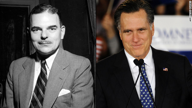 Thomas Dewey, left, ran against Harry Truman in 1948.  Mitt Romney, right, may play the role of Dewey in presidential election.