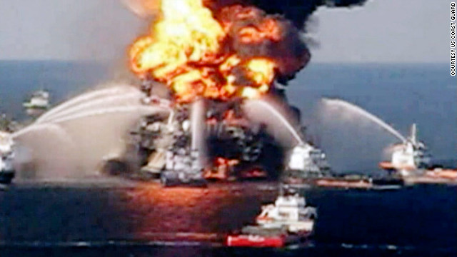 The Deepwater Horizon oil rig burns in the Gulf of Mexico in April 2010. The disaster led to a huge, months-long oil spill.
