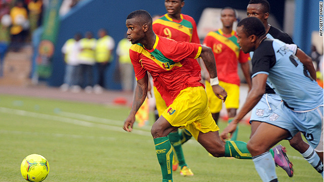 Striker Razzagui Camara (center) scored Guinea's third goal in a 6-1 thrashing of Botswana on Saturday in Franceville.
