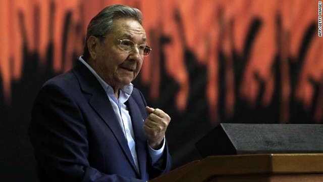 Cuban President Raul Castro as he delivers a speech at the end of a two-day meeting of the Cuban Communist Party
