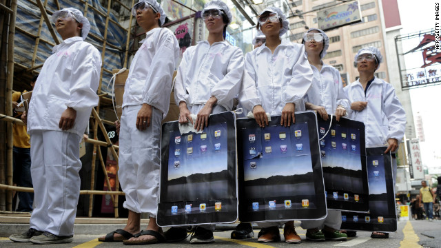 People stage a protest against Foxconn, which manufactures Apple products in mainland China, in May 2011 in Hong Kong.