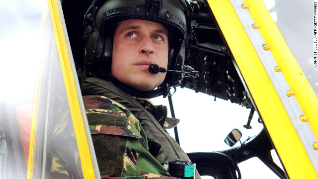 (FILES) In a file picture taken on March 31, 2011 Britain's Prince William is pictured at the controls of a Sea King helicopter during a training exercise at Holyhead Mountain, having flown from RAF Valley in Anglesey, north Wales. Britain's Prince William will be deployed to the Falkland Islands early 2012 on a six-week tour of duty as a search and rescue helicopter pilot, the Royal Air Force said on November 10, 2011. AFP PHOTO / POOL / JOHN STILLWELL (Photo credit should read JOHN STILLWELL/AFP/Getty Images)