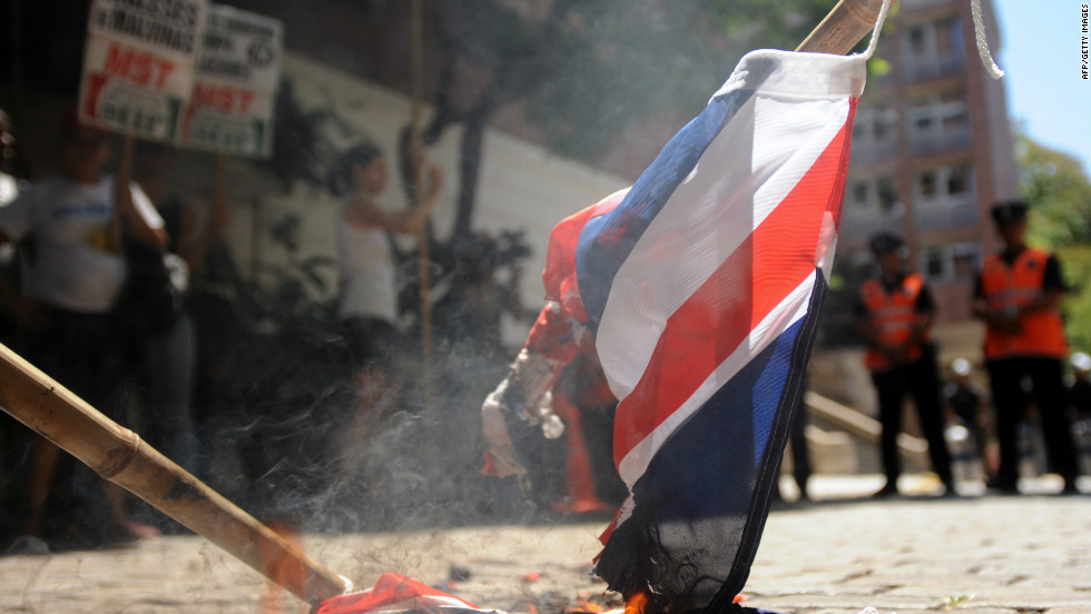 Argentinian activists burn a Union Jack during a demonstration in front of the British embassy in Buenos Aires in January.