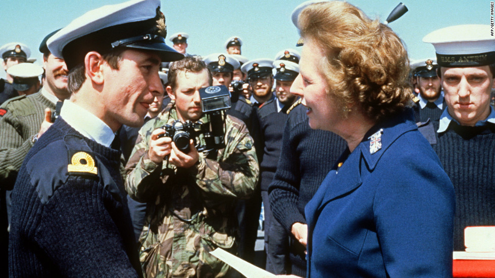 British Prime Minister Margaret Thatcher meets personnel aboard the HMS Antrim during a visit to the Falkands in 1983.