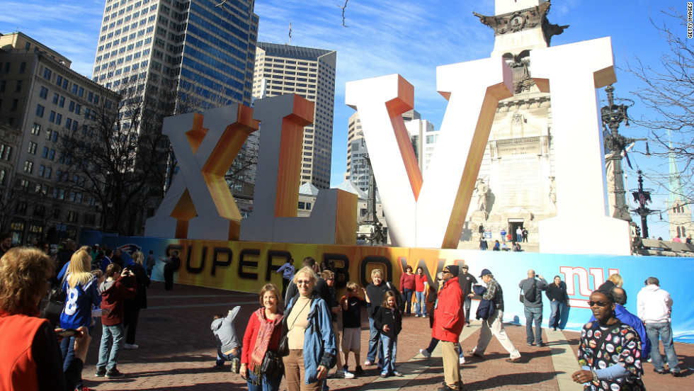 The Super Bowl circus has taken over the city of Indianapolis, with this giant logo occupying space in front of the Soldiers' and Sailors' Monument.